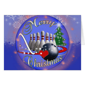 BOWLER / BOWLING MERRY CHRISTMAS GREETING CARD