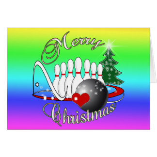 BOWLER / BOWLING MERRY CHRISTMAS GREETING CARDS