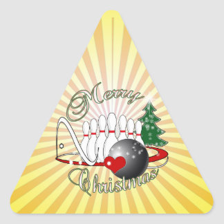 BOWLER / BOWLING MERRY CHRISTMAS TRIANGLE STICKER