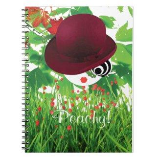 """Bowler Hat Girl & Grass """"Peachy"""" A5 Notebook"""