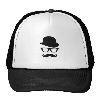 Bowler Hat, Glasses and Mustache Trucker Hat