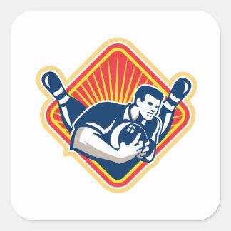 Bowler Pose Bowling Ball Pins Retro Square Sticker