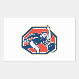 Bowler Throw Bowling Ball Retro Rectangle Sticker