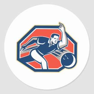Bowler Throw Bowling Ball Retro Round Stickers