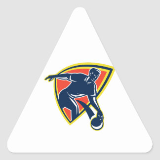 Bowler Throw Bowling Ball Shield Retro Triangle Sticker