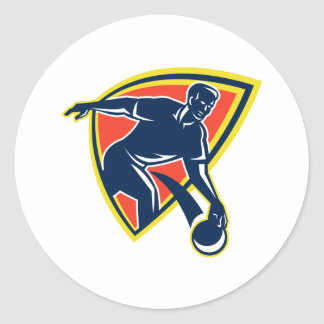 Bowler Throw Bowling Ball Shield Retro Sticker