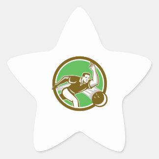 Bowler Throwing Bowling Ball Circle Retro Star Stickers