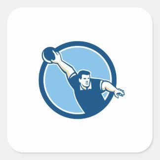 Bowler Throwing Bowling Ball Circle Retro Sticker