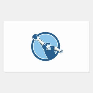 Bowler Throwing Bowling Ball Circle Retro Rectangular Sticker