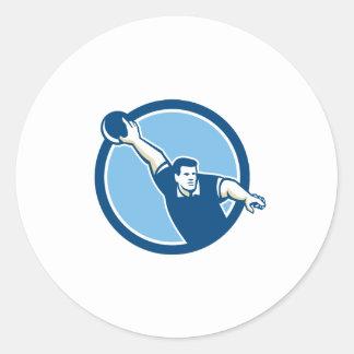 Bowler Throwing Bowling Ball Circle Retro Stickers