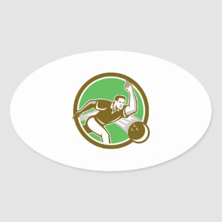 Bowler Throwing Bowling Ball Circle Retro Oval Stickers
