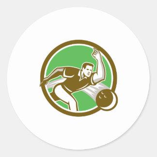 Bowler Throwing Bowling Ball Circle Retro Round Sticker