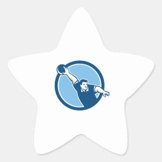 Bowler Throwing Bowling Ball Circle Retro Star Sticker