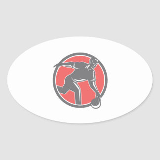Bowler With Bowling Ball Circle Retro Oval Sticker