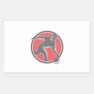 Bowler With Bowling Ball Circle Retro Rectangular Sticker
