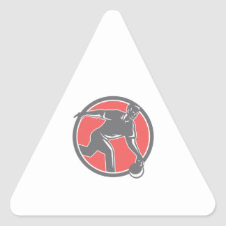 Bowler With Bowling Ball Circle Retro Triangle Sticker