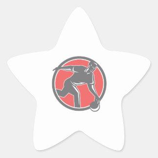 Bowler With Bowling Ball Circle Retro Star Sticker