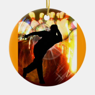 Bowler with Strike Explosion Christmas Ornament