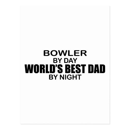 Bowler World's Best Dad by Night Postcards