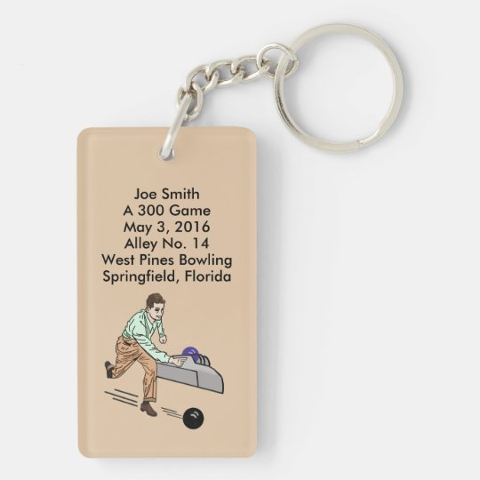 Bowlers 300 Game, Fully Customisable Text Key Ring