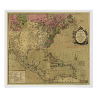 Bowles Detailed America Map - 1784 Poster