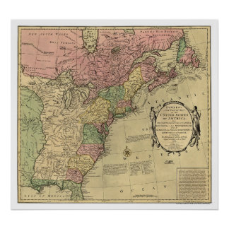 Bowles Map of America 1784 Poster