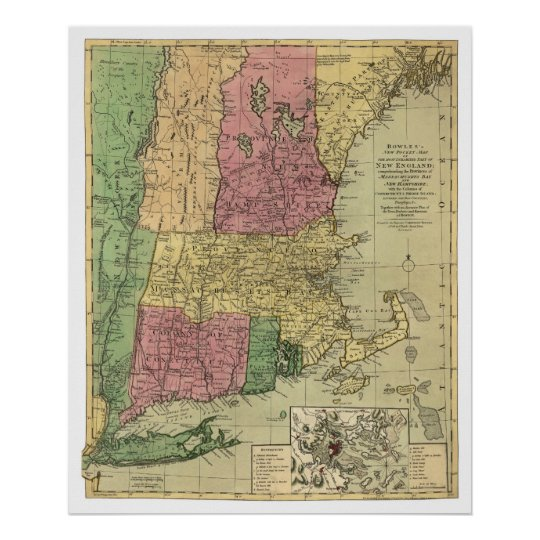 Bowle's Map of New England 1784 Poster