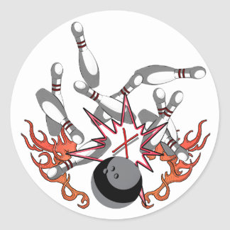 Bowling a strike round sticker