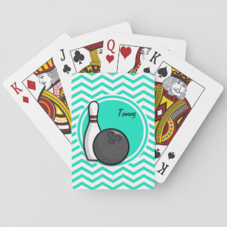 Bowling; Aqua Green Chevron Playing Cards