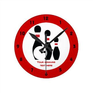 Bowling ball and pins custom round clock