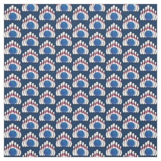 Bowling Ball and Pins Design Fabric