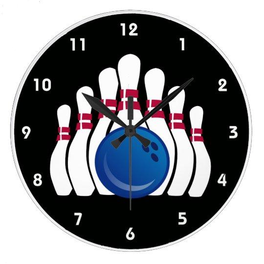 Bowling Ball and Pins Design Wall Clock