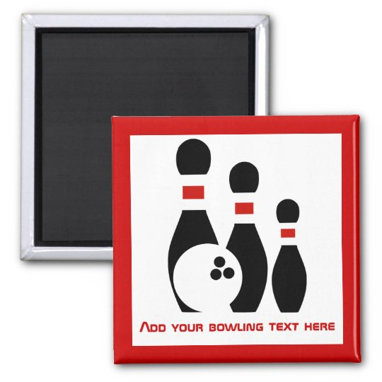 Bowling ball and pins personalised magnet