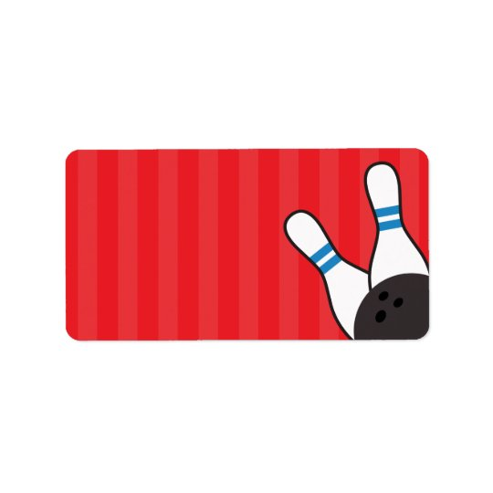 Bowling ball and pins red and blue blank address label