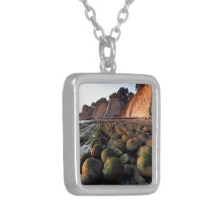 Bowling ball Beach, Schooner Gulch, POINT arena, Square Pendant Necklace