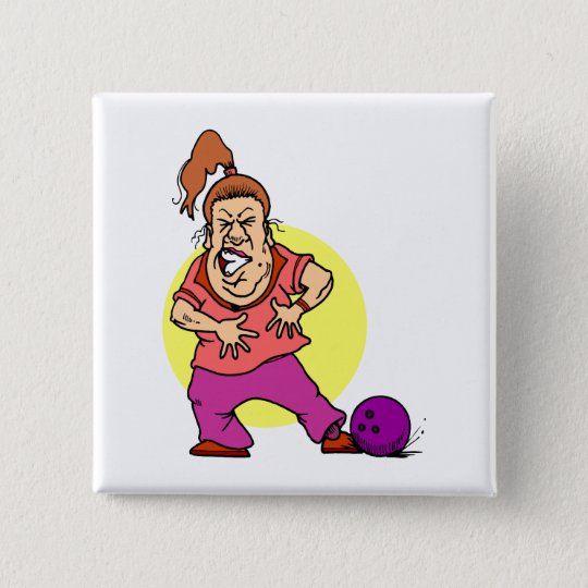 bowling ball crushing foot lady cartoon 15 cm square badge