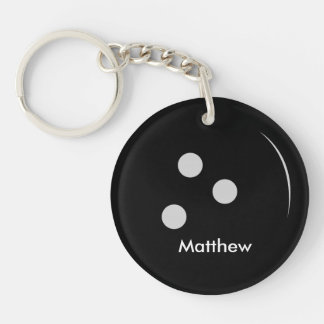 Bowling Ball Double-Sided Round Acrylic Key Ring