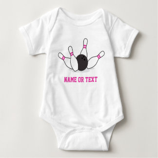 Bowling ball knocking down pins - hot pink baby bodysuit