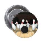 Bowling Ball & Pins: 3D Model: 6 Cm Round Badge