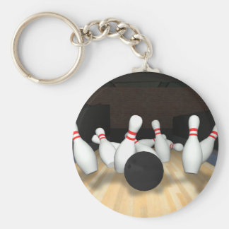 Bowling Ball & Pins: 3D Model: Basic Round Button Key Ring