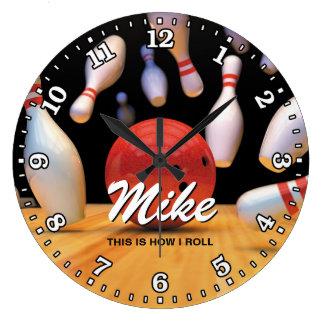 Bowling Ball Pins Man Cave Personalizable Clock