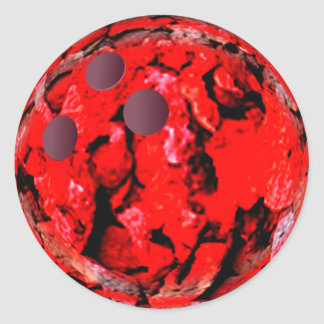 Bowling ball red round sticker