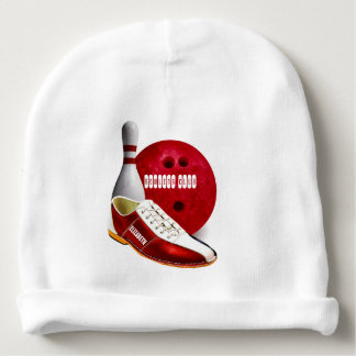 Bowling Ball Shoe And Pin With Your Custom Name Baby Beanie