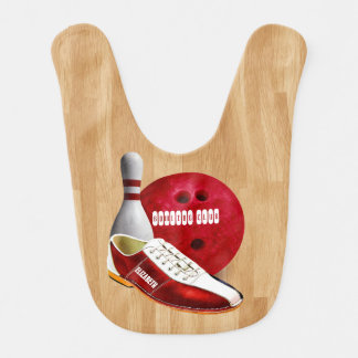 Bowling Ball Shoe And Pin With Your Custom Name in Baby Bib