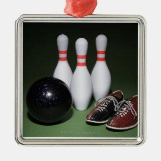 Bowling Ball Silver-Colored Square Decoration