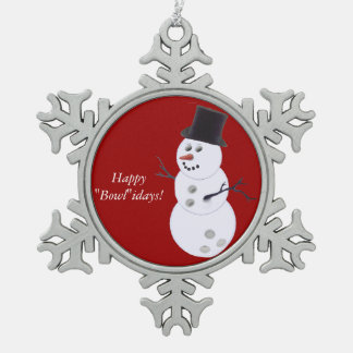 Bowling Ball Snowman Pewter Snowflake Decoration