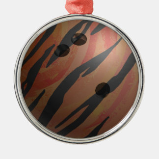 Bowling Ball Tiger Orange Silver-Colored Round Decoration