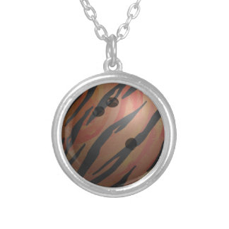 Bowling Ball Tiger Orange Silver Plated Necklace