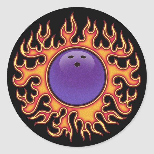 Bowling Balls-o-Fire Classic Round Sticker