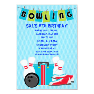 Bowling Banner Birthday Party Invitation